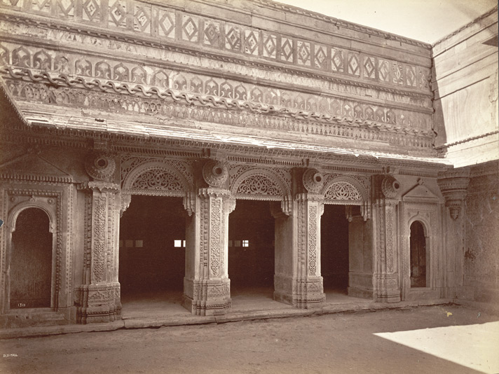 East face of outer court yard, Man Mandir, Gwalior Fort.